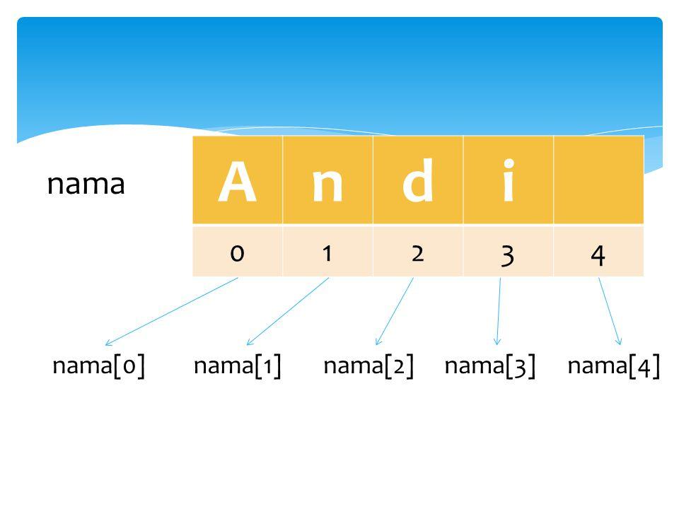 A n d i 1 2 3 4 nama nama[0] nama[1] nama[2] nama[3] nama[4]